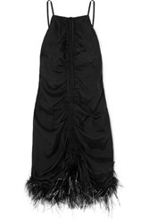 Alice Mccall Favour Feather Trimmed Ruched Satin Mini Dress Black