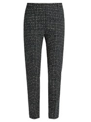 Tomas Maier Urban Grid Print Slim Leg Trousers Green White
