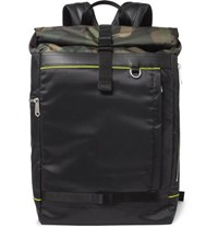 Paul Smith Leather Trimmed Camouflage Panelled Ripstop Backpack Black