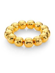 Nest Hammered Beaded Stretch Bracelet Gold