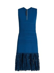 Elie Saab Lace Hem Sleeveless Dress Blue