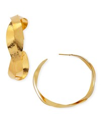 Ruban Twisted Hoop Earrings Herve Van Der Straeten Gold