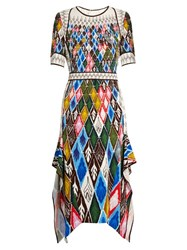 Peter Pilotto Argyle Print Cady Midi Dress Multi