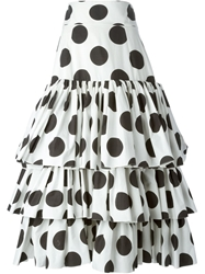 Dolce And Gabbana Long Polka Dot Skirt White