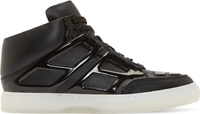 Alejandro Ingelmo Black Leather Patent Trimmed Tron Sneakers
