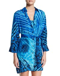 Gottex Santiago Printed Button Down Coverup Multi Blue