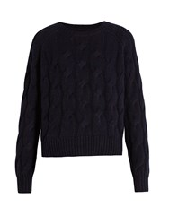 Nili Lotan Ralph Cable Knit Cashmere Sweater Navy