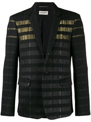 Saint Laurent Metallic Stripe Blazer Jacket Black