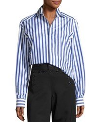 Ralph Lauren Capri Striped Cotton Blouse White