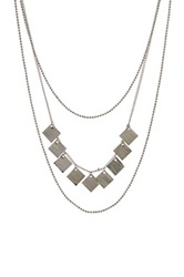 Stephan And Co Triple Layer Square Charm Necklace Metallic