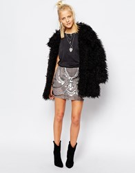 Religion Festival Mini Skirt With All Over Beading And Sequin Embelishment Grey