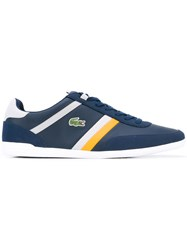 Lacoste Lace Up Sneakers Men Calf Leather Polyester Foam Rubber 46 Blue