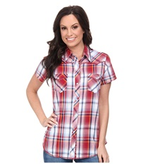 Roper 9534 Jubilee Plaid Red Women's Short Sleeve Button Up
