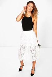 Boohoo Full Lace Skater Skirt Ivory