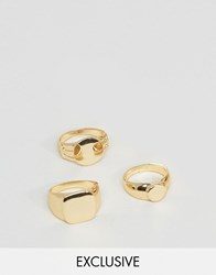 Designb London Signet And Pinkie Rings In 3 Pack In Gold Gold Silver