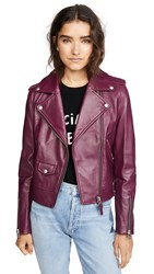 Mackage Baya Leather Jacket Berry