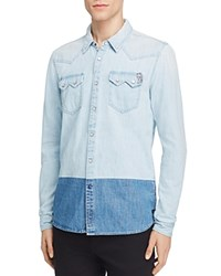 Scotch And Soda Color Block Denim Slim Fit Snap Front Shirt Washed Indigo