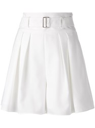 Adeam High Rise Wide Pleated Shorts White