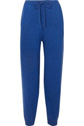 Allude Metallic Wool And Cashmere Blend Track Pants Navy