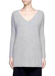 Crush Collection X Du Juan Cashmere Rib Knit Long Sweater Grey