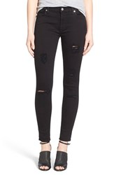 Women's 7 For All Mankind Destroyed Ankle Skinny Jeans Slim Illusion Luxe Black