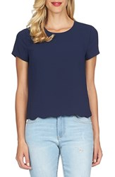 Women's Cece By Cynthia Steffe Short Sleeve Scallop Hem Blouse