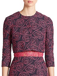 Oscar De La Renta Embroidered Tweed Jacket Pink Navy