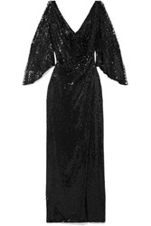 Jenny Packham Wrap Effect Cutout Sequined Tulle Gown Black
