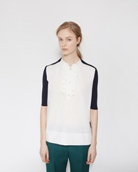 Marni Ruffled Neck Blouse Night Blue Lily White