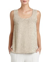 Lafayette 148 New York Cleo Sleeveless Sequined Front Suede Blouse White