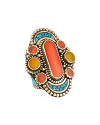 Devon Leigh Coral Turquoise And Jade Ring Multi