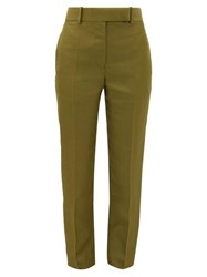 Haider Ackermann Tailored Slim Leg Canvas Trousers Khaki