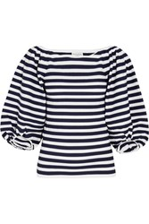 Sonia Rykiel Striped Cotton Blend Top Midnight Blue