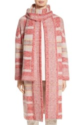 St. John Women's Collection Lofty Knit Plaid Blanket Coat Bright Coral Multi
