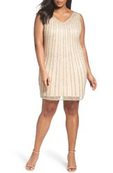 Pisarro Nights Plus Size Women's Embellised Double V Neck Sheath Dress