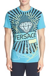 Men's Versace Jeans Diamond Print T Shirt Turquoise