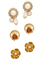 Ca And Lou Saskia 24Kt Gold Plated Set Of Three Earrings