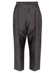 Haider Ackermann Polka Dot Jacquard Silk Blend Trousers Grey