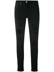 The Kooples Jimmy Destroyed Skinny Jeans Women Cotton Polyester Spandex Elastane 27 Black