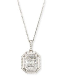 Zydo Mosaic Emerald Cut Illusion Diamond Pendant Necklace In 18K White Gold