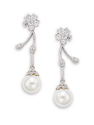 Saks Fifth Avenue 15Mm Round Freshwater Pearl And Crystal Flower Drop Earrings Rhodium