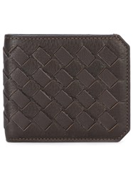 Santoni Woven Cardholder Men Leather One Size Brown