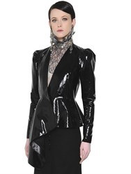 Lanvin Asymmetric Puffed Patent Leather Jacket