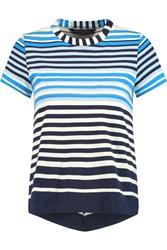 Marc By Marc Jacobs Paradise Striped Pima Cotton Jersey Top Blue