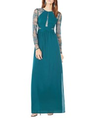 Bcbgmaxazria Janette Lace Sleeve A Line Gown Dark Teal