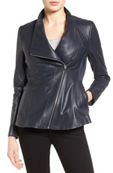 Via Spiga Women's Asymmetrical Zip Leather And Ponte Jacket