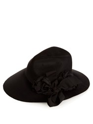 Gucci Asymmetric Fur Felt Wide Brim Hat Black