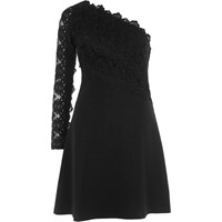 River Island Black One Shoulder Lace Sleeve Skater Dress