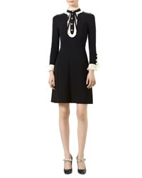 Gucci Long Sleeve Jersey Dress Black White