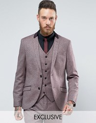 Heart And Dagger Skinny Blazer In Tweed With Velvet Trim Burgundy Red